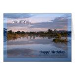 From us all, Lake at dawn Birthday card