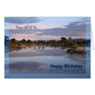 From us all, Lake at dawn Birthday card