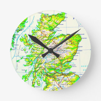 From Whence We Came Map of Scotland Digital Photo Round Clock