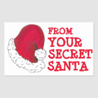 From Your Secret Santa Claus Red Christmas Xmas Rectangular Sticker
