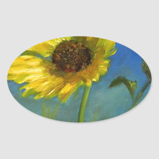 froml hand painted wild oklahoma flower oval sticker
