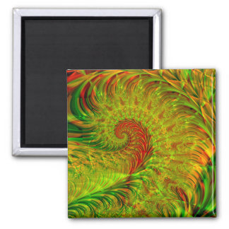Frond · Fractal Art · Green & Red 2 Inch Square Magnet