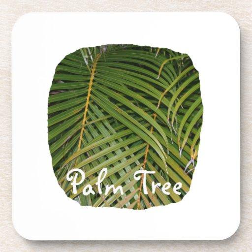 Frondas de la palma con el texto blanco de la palm posavasos