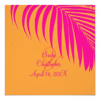 """Frondas de la palma de PixDezines, mandarina/rosa Invitación 5.25"""" X 5.25"""""""