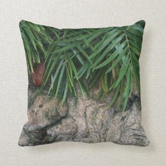 Frondas de la palma sobre la foto aseada del jardí almohada