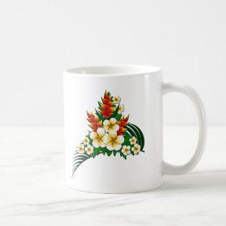 Frondas estilizadas del jengibre y del Plumeria Taza De Café