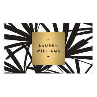 Frondas negras elegantes de la palma con el logoti tarjetas de visita