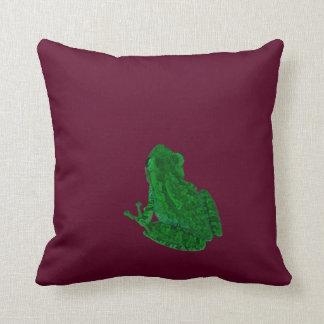 frong colorized verde contra Borgoña Cojín Decorativo