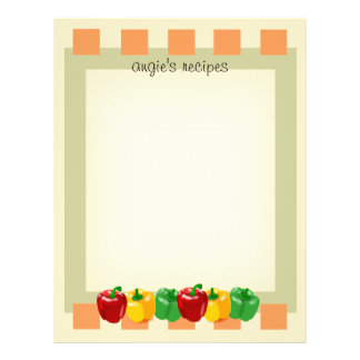 "Front and Back Veggies Kitchen Recipe Paper 8.5x11 8.5"" X 11"" Flyer"
