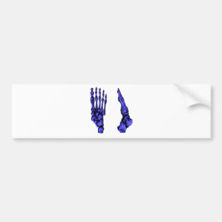 Front and side view of bones of the feet - blue bumper sticker