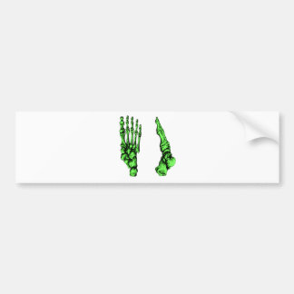Front and side view of bones of the feet - green bumper sticker
