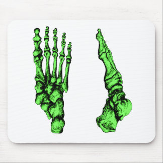 Front and side view of bones of the feet - green mouse pad