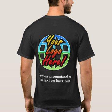 Front/Back Business Logo Dark Uniform Promotional T-Shirt