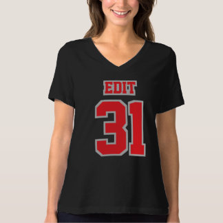 Front BLACK RED GRAY Bella VNeck Womens Cotton Tee