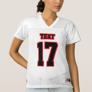 Front BLACK RED WHITE Womens Football Jersey
