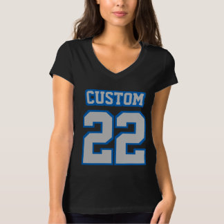 Front BLACK SILVER BLUE Bella Jersey VNeck Womens T-Shirt