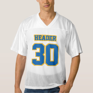 Front BLUE GOLD WHITE Mens Football Jersey