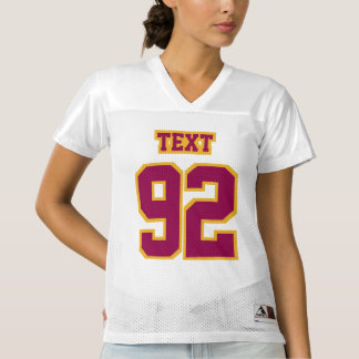 Front BURGUNDY GOLD WHITE Womens Football Jersey