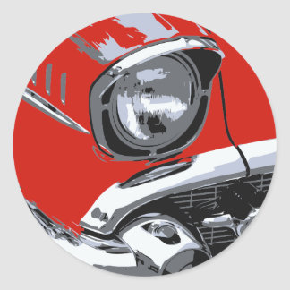 Front car color classic round sticker
