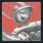"Front car color stone coaster<br><div class=""desc"">An artistic manipulated photograph of a Classic Car</div>"