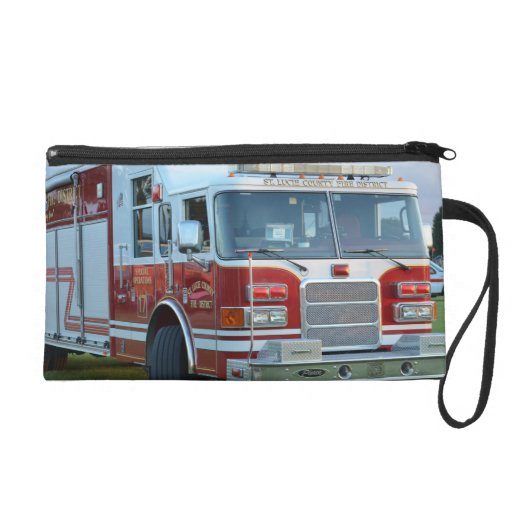 Front corner of county fire truck fireman design wristlet clutches