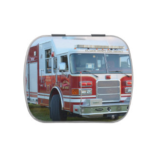 Front corner of county fire truck fireman design jelly belly tin