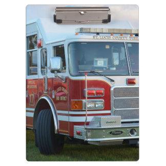 Front corner of county fire truck fireman design clipboard