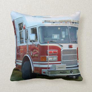 Front corner of county fire truck fireman design pillows