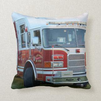 Front corner of county fire truck fireman design throw pillow