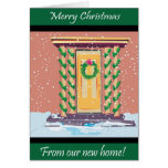 Front Door Christmas New Address Greeting Card