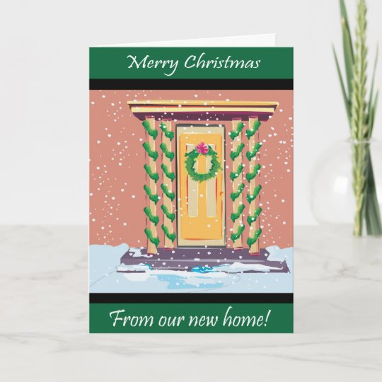 Front Door Christmas New Address Holiday Card Zazzle Com