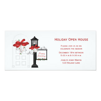 Front Door, Lamppost, Holiday Invitation