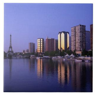 Front du Seine and Eiffel Tower, Paris, France Large Square Tile