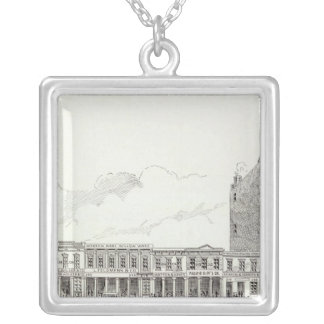 Front East side California and Sacramento Square Pendant Necklace