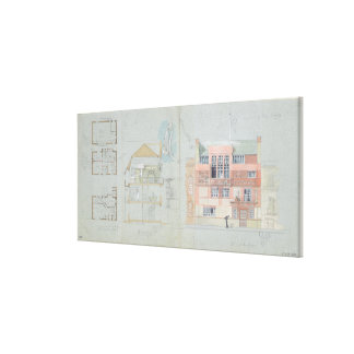 Front Elevation and Section for House and Studio f Canvas Print