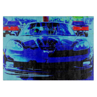 Front end and hood of a Black & Blue Corvette Z06 Cutting Board