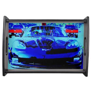 Front end and hood of a Black & Blue Corvette Z06 Food Tray