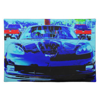 Front end and hood of a Black & Blue Corvette Z06 Placemat