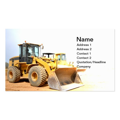 front end loader business card
