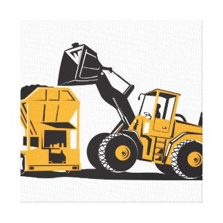 Front End Loader Digger Excavator Retro Gallery Wrap Canvas