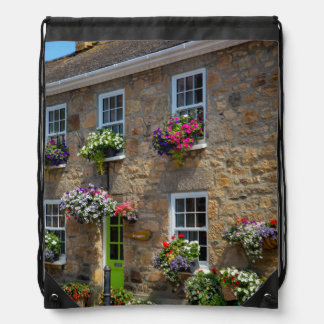 Front entrance to Smugglers Bed and Breakfast Drawstring Backpack