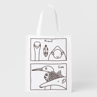 < Front face (brown) > Front & side view of faces Grocery Bag