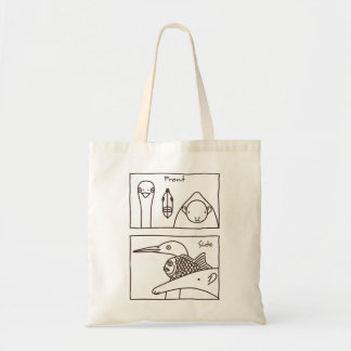 < Front face (brown) > Front & side view of faces Tote Bag