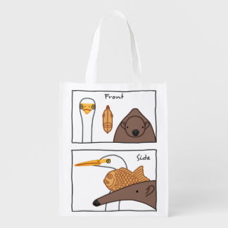 < Front face (color) > Front & side view of faces Grocery Bag