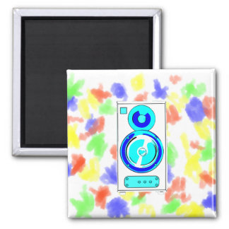 Front Facing Blue and White Single Speaker Graphic 2 Inch Square Magnet