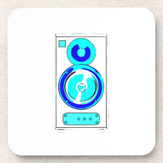 Front Facing Blue and White Single Speaker Graphic Coaster