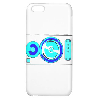 Front Facing Blue and White Single Speaker Graphic Case For iPhone 5C