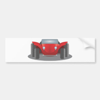 Front-Facing Red and Black Dune Buggy Bumper Sticker