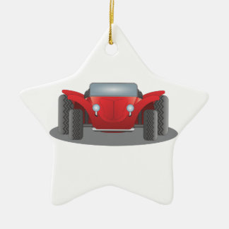 Front-Facing Red and Black Dune Buggy Double-Sided Star Ceramic Christmas Ornament