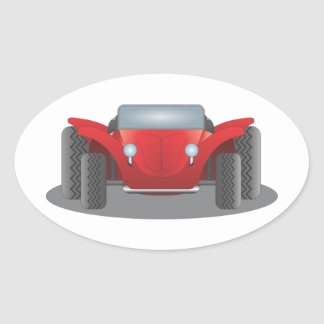 Front-Facing Red and Black Dune Buggy Oval Sticker